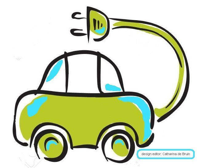 groene stekker auto blauw